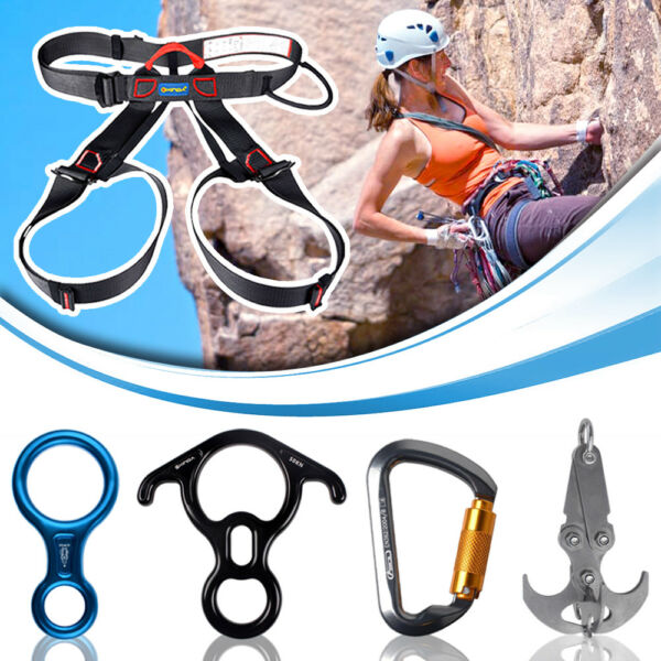 Rock Climbing Rappelling Harness Aluminum Carabiner Locking Gear Grappling Hook $7.99