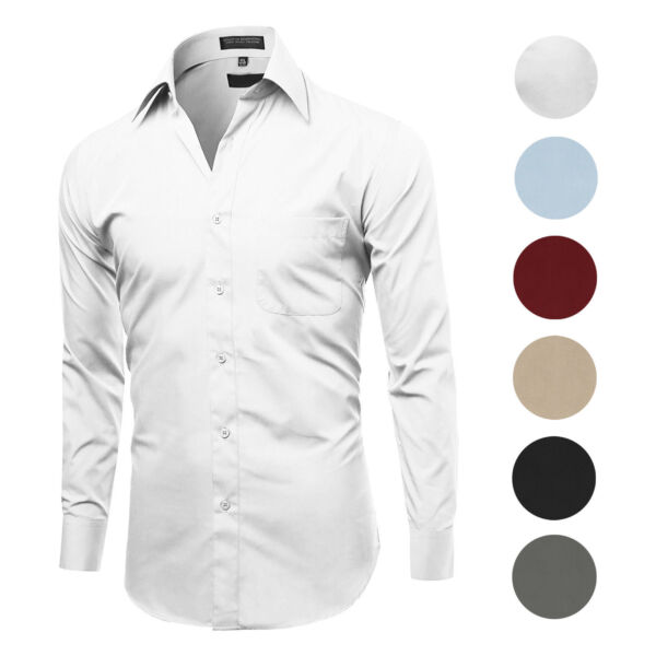 Men#x27;s Classic Fit Long Sleeve Wrinkle Resistant Button Down Premium Dress Shirt