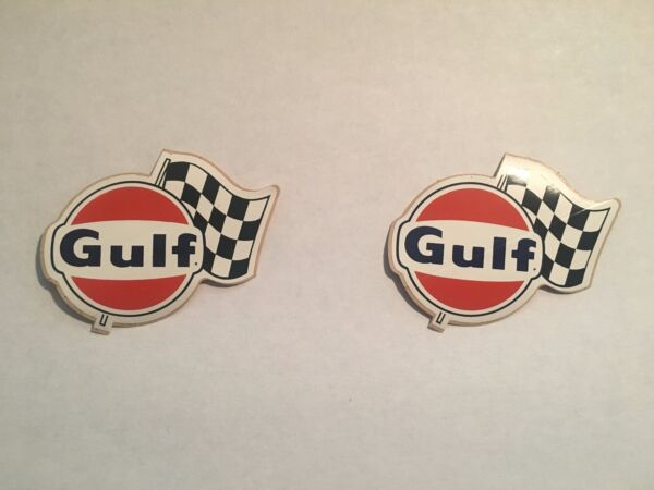 2 1966 GULF OIL VINTAGE ORIGINAL RALLY FLAG RACING STICKERS DECALS NHRA NASCAR