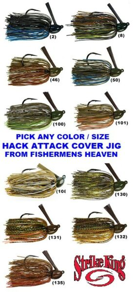 Strike King Jigs Hack Attack Cover Flipping Lure Any Color Size HAHCJ Bait $7.77