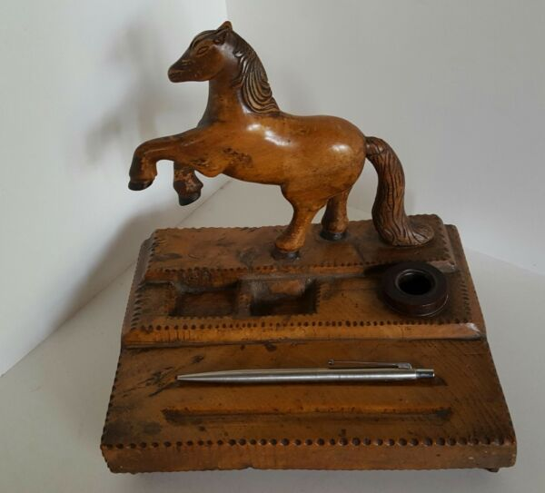 Rustic Antique Hand Carved Wood Desk Stand with Horse & Inkwell Tramp Art