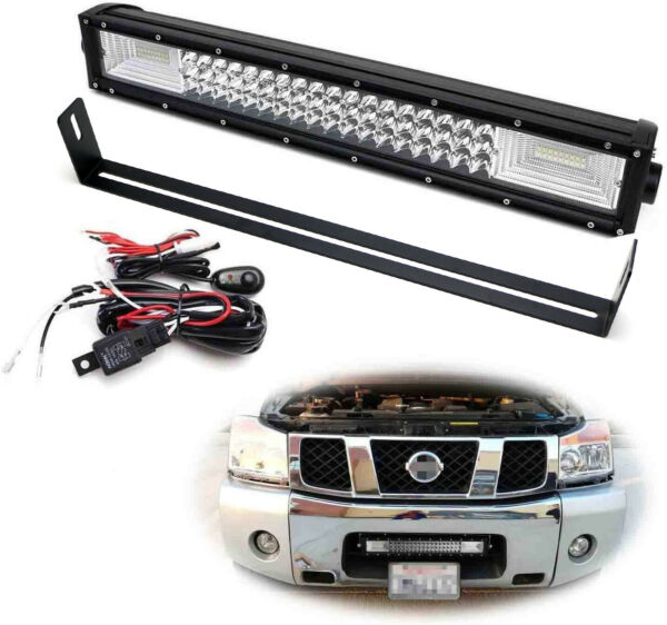 FloodSpot Beam LED Light Bar wLower Bumper Mounts Wiring For Nissan Titan