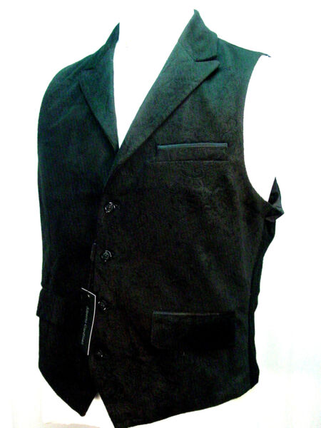Old West Vest Victorian Style Black velveteen with a paisley pattern S to XXL
