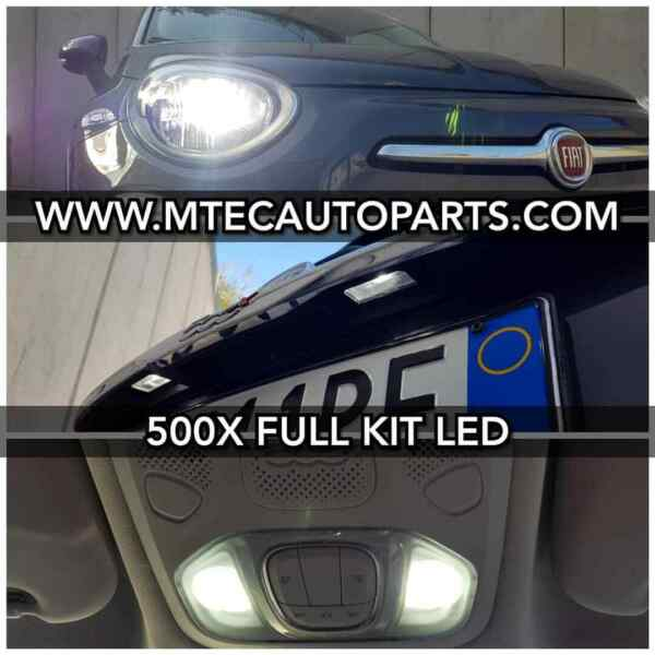 Complete Kit LED H4 Fiat 500X 500L + Set Clearance Internal +2 T10 License Plate