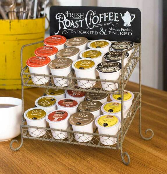 Country new 2 tier K CUP pod storage rack  holds 24 pods