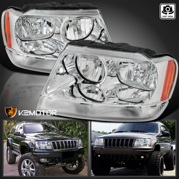 1999-2004 Jeep Grand Cherokee Crystal Clear Replacement Headlights Left+Right