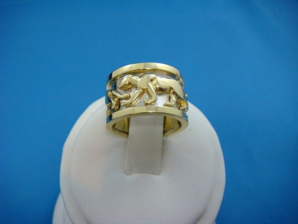 18K 2 TONE SOLID GOLD PANTHER WIDE BAND-RING 13.8 GRAMS 12 MM WIDE SIZE 4.5