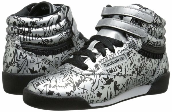 Kids Girl Shoes Disney Cinderella Free Style High Top Reebok Black Silver M46103