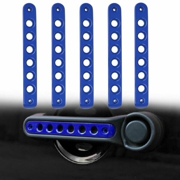 5pcs Aluminum Door Grab Handle Trim Cover for Jeep Wrangler JK 2007 2018 Blue