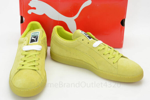 Puma Suede Classic + Ice Sulphur Spring Yellow 14 casual sneaker shoe NEW $65