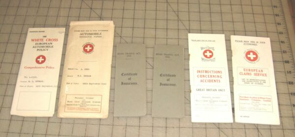1931 WHITE CROSS MOTOR POLICY Auto Insurance Packet European Auto Policy more $35.00