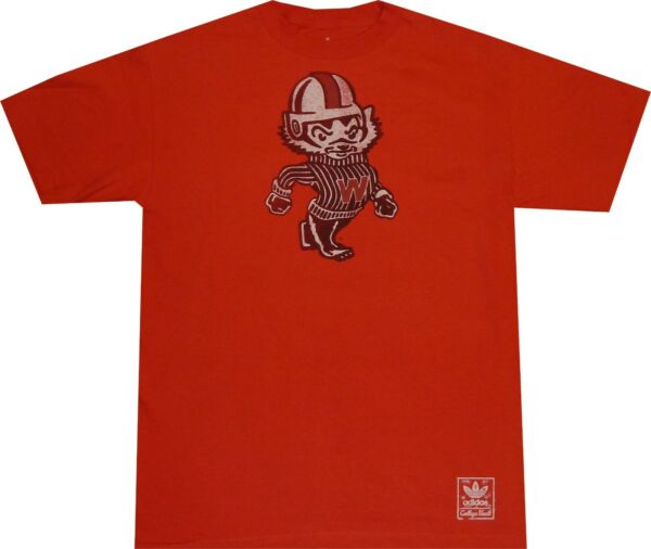Wisconsin Badgers Adidas Vintage Mascot Red T Shirt $28 Clearance