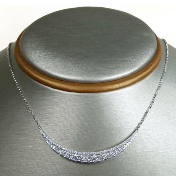1.24 TCW Round Cut Diamonds Hammock Shaped Necklace In Solid 14k White Gold