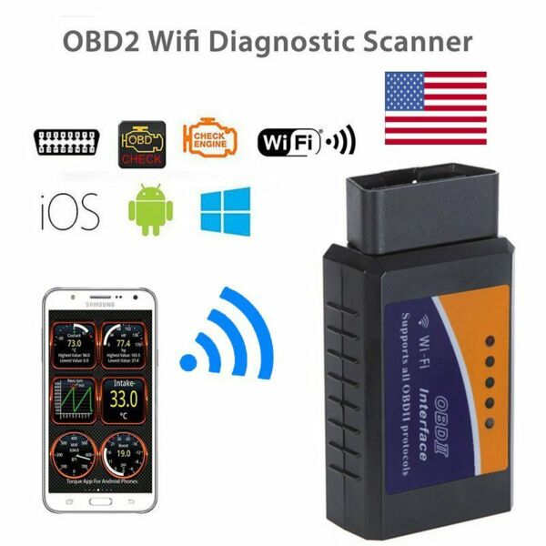 ELM327 OBD2 II Car Engine Diagnostic Scan Tool Scanner For PC iPhone Android USA