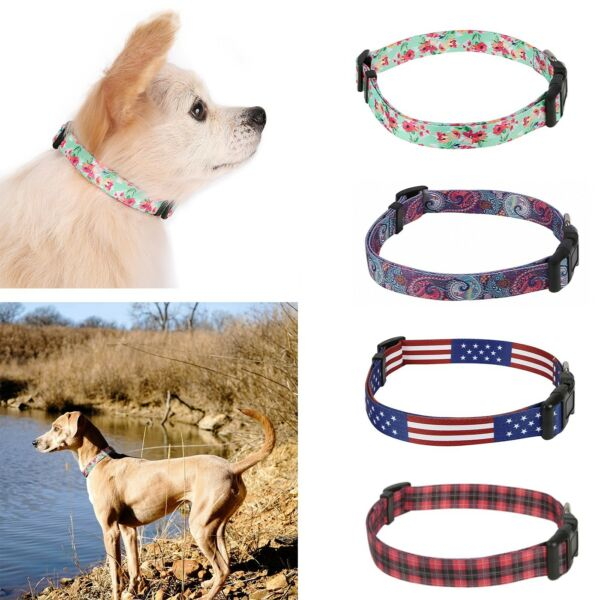 Dog Collar Designer Print Adjustable Pet Collar Plastic Clips with Metal Loop $5.99