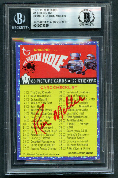 Ron Miller Producer signed autograph auto 1979 Black Hole Card BAS Slabbed