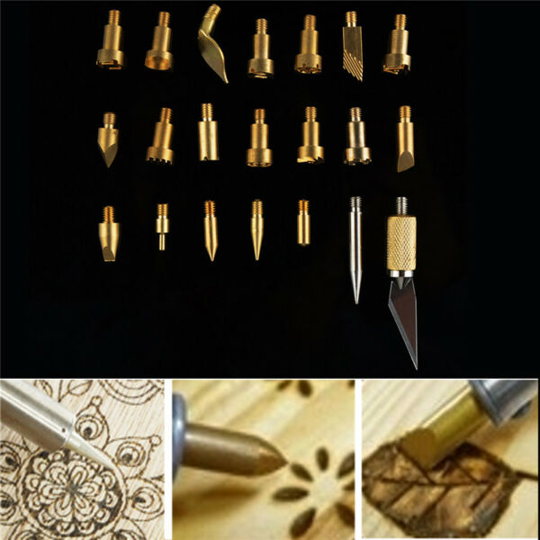 22 pcs Stencil Soldering Iron Pyrography Carving Tool Wood Burning Pen Tips US