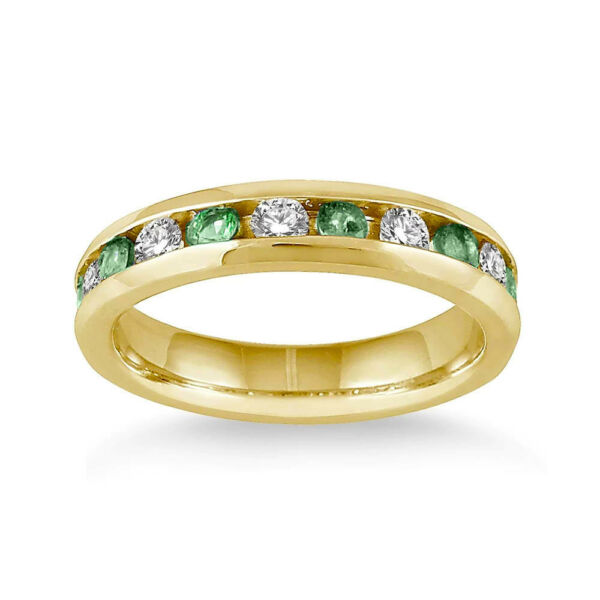 Emerald & White Diamond accent band Ring Yellow Gold over Sterling Silver