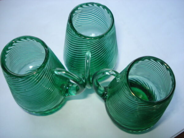 ANTIQUE OLD EMERALD GREEN RUGGED Depression Glass 3 Cup  RARE