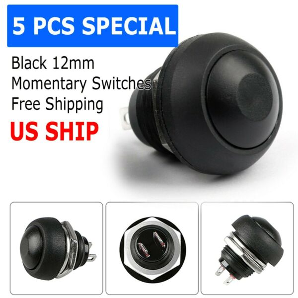 5X Black M4 12mm Waterproof Momentary ON OFF Push Button Round SPST Switch