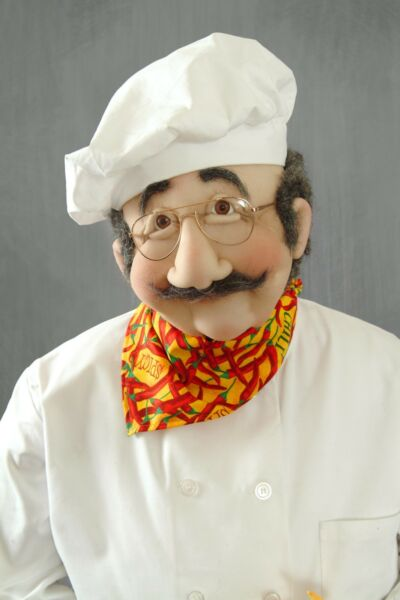 Chef  Cook with Rubber Chicken Art Soft Sculpture Life Size Sized Doll