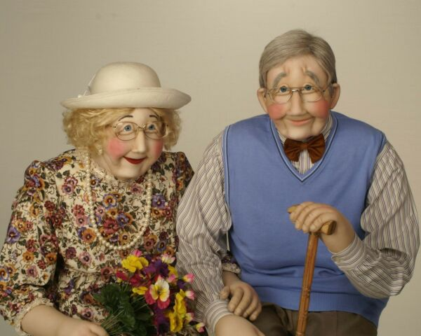 Grandparents Grand Parents Grandma & Grandpa Art Soft Sculpture Life Sized Doll