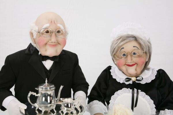 Mini Maid and Butler Man & Woman Couple Art Soft Sculpture Life Size Sized Dolls