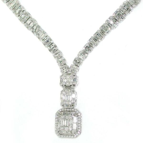 11.04 TCW Round & Baguette Diamonds Pendant Necklace 18k White Gold 16.5