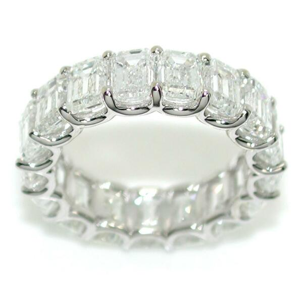 Eternity Ring Band With 7.96 TCW Emerald Cut Diamonds In 18k White Gold Size 5