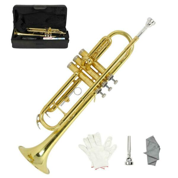 New Beginner Gold Lacquer Brass Bb Trumpet W Case for Student School Band