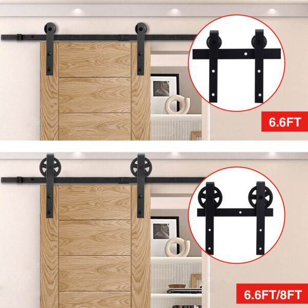 Sliding Barn Door Hardware Rectangle Track Rail Track Basic Kit 6.6/7.5/8ft
