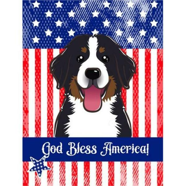 Carolines Treasures God Bless American Flag with Bernese Mountain Dog House Flag