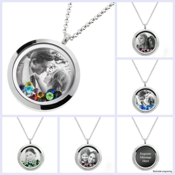 Personalized Photo & Message Engrave Floating Crystals Locket Pendant Necklace