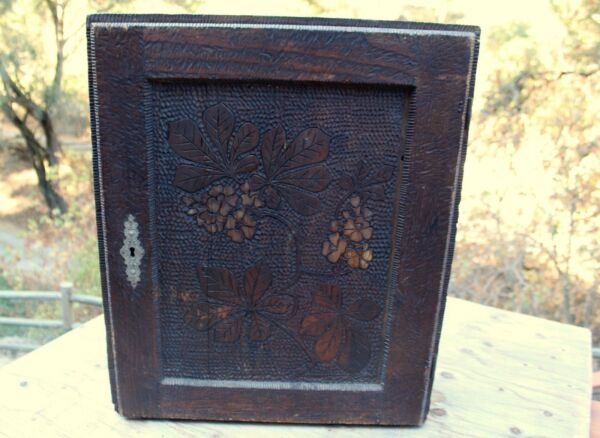Rare Large Handmade Antique Wooden Pyrography Medicine Cabinet With Drawers