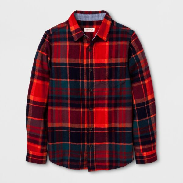 New Boys' Long Sleeve Button Down Flannel Shirt - Cat & Jack Red Orange Small