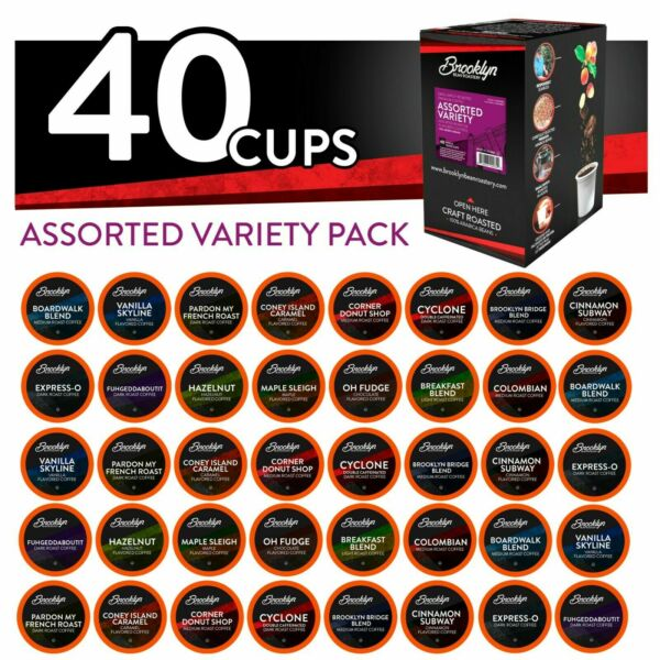 Brooklyn Beans Assorted Variety Pack K-Cups Coffee for Keurig Brewers 40 Count