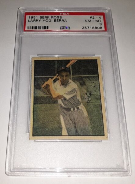 1951 Berk Ross #2-4 Yogi Berra Card Graded PSA 8 Nm-Mt Set Break Only 2 Higher