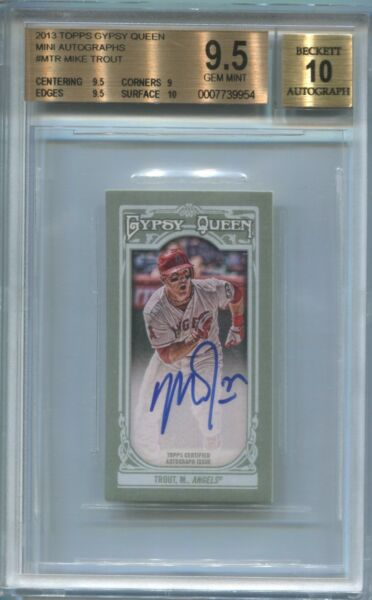 2013 Mike Trout Topps Gypsy Queen AUTO MINI Autograph 910 Angels BGS 9.510 GEM