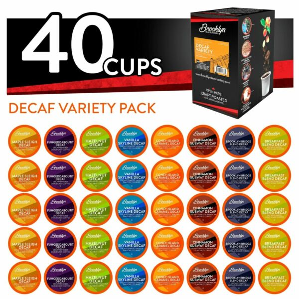 40 Brooklyn Beans Decaf Variety Pack Coffee Pods for Keurig K-Cups Coffee Maker