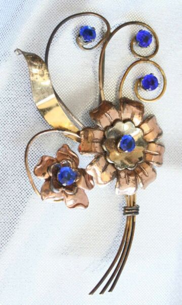 Harry Iskin Art Deco Gold-Filled Cobalt Rhinestone Brooch 1940s vintage