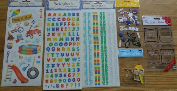 Kids Play Scrapbooking Stickers Embellishments Bike Swing Alphabet Border $12.99