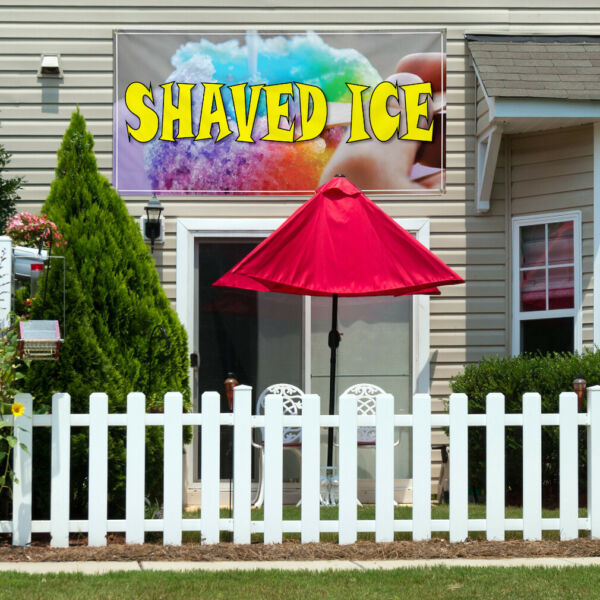 Vinyl Banner Sign Shaved Ice Restaurant Cafe Bar Style C Marketing Advertising
