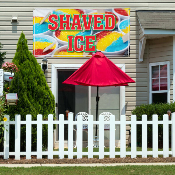 Vinyl Banner Sign Shaved Ice Restaurant Cafe Bar Style D Marketing Advertising