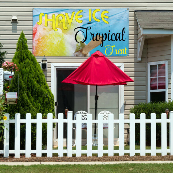 Vinyl Banner Sign Shave Ice Tropical Treat Marketing Advertising Aqua-Blue