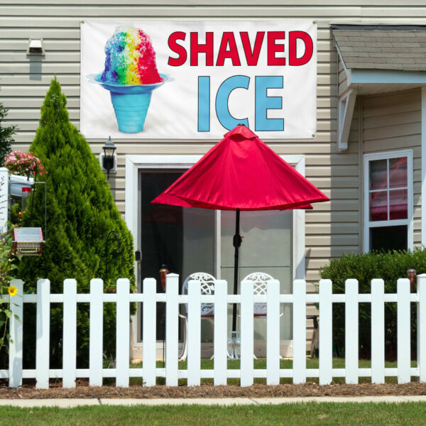 Vinyl Banner Sign Shaved Ice #2  Style B Shaved Ice Marketing Advertising Blue