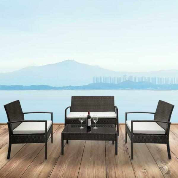 4 PCS Rattan Patio Furniture Set Garden Lawn Sofa Set w Cushion Seat Mix Wicker