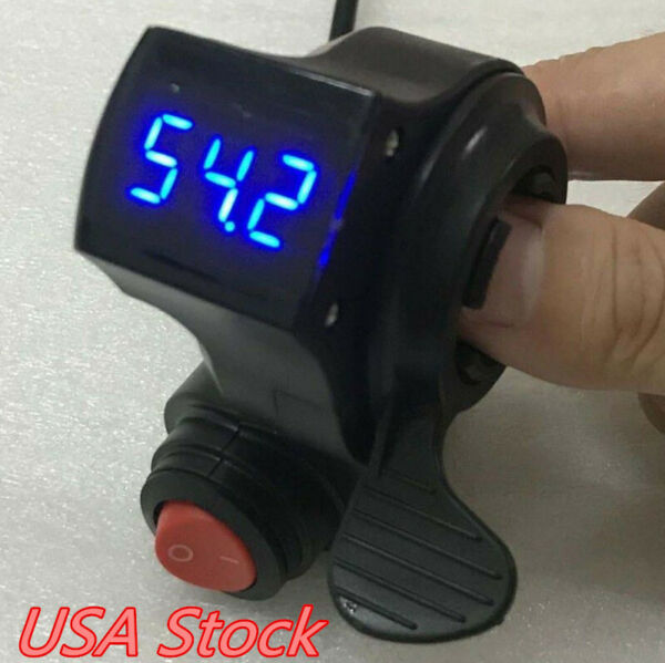 US 12V-72V E-Bike Universal Thumb Throttle LED Voltage For Scooter Electric Bike