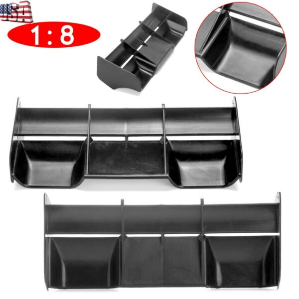 Black Plastic Rear Wing Spare Parts For 1:8 Buggy RC Drift Car Off Road Truck US