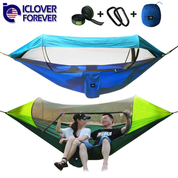 Camping Hammock Tent Mosquito Net Set 2 Person Sun Cover Rainproof Hanging Bed $40.99