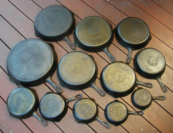 Griswold Cast Iron Skillet Set # 2 -12 & 14 Mixed Logos-LOCAL PICK UP ONLY